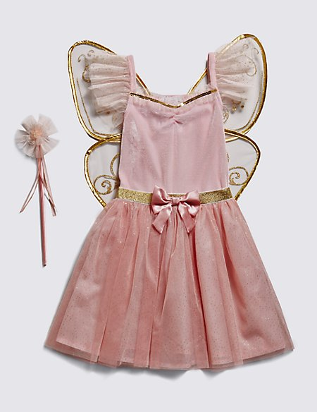Kids' Fairy Costume with Wand & Butterfly Wings