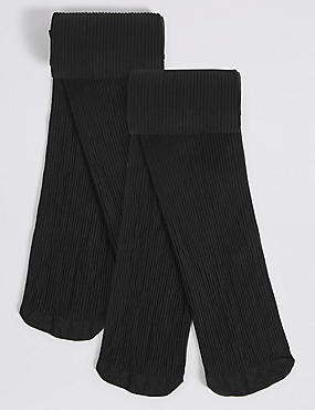 2 Pack 100 Denier Ribbed Tights (6-14 Years)