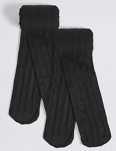 2 Pairs of Opaque Cable knit Tights (6-14 Years)