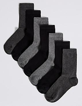 7 Pairs of Ankle School Socks (3-16 Years)