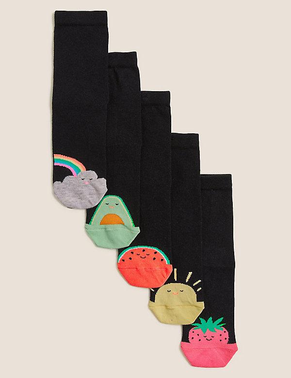 5pk Cotton Toe Design Socks