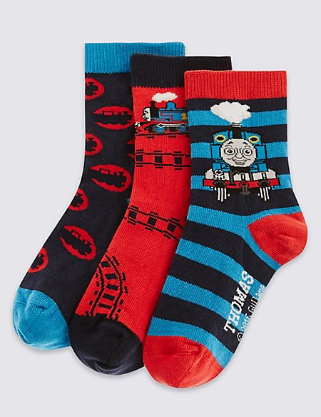 3 Pairs of Freshfeet™ Thomas & Friends™ Cotton Rich Socks (1-7 Years)