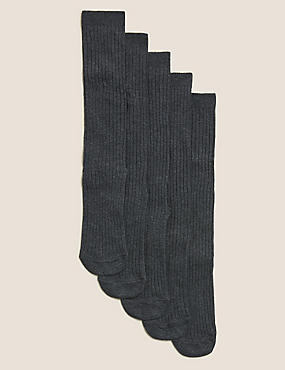 5 Pairs of Freshfeet™ Cotton Rich Long Ribbed School Socks (2-16 Years)