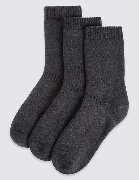 3 Pairs of Cotton Blend Thermal Socks