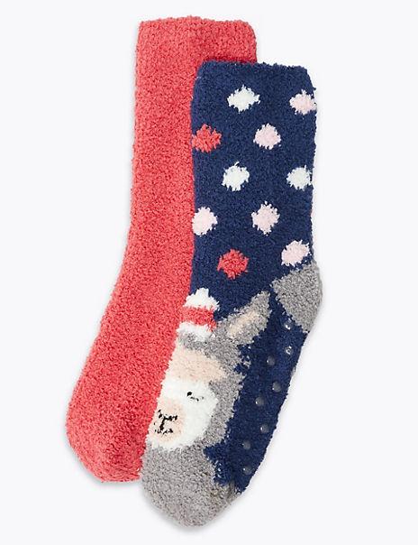 2 Pairs Llama Print Slipper Socks
