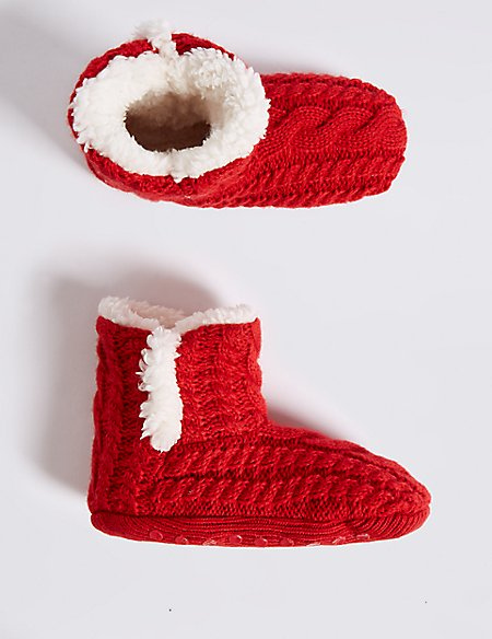 Christmas Cable Knit Slipper Boots (2-14 Years)