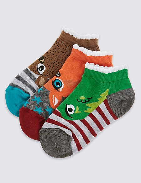 3 Pairs of Cotton Rich Novelty Animal Design Trainer Liner Socks (5-14 Years)