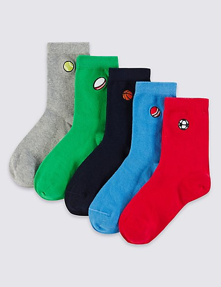 5 Pairs of Freshfeet™ Cotton Rich Sports Embroidered Design Socks (3-14 Years)