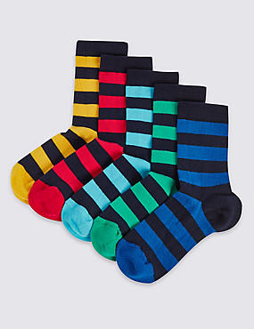 5 Pairs of Cotton Rich Rugby Stripe Socks (1-14 Years)
