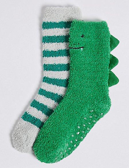 2 Pairs of Dinosaur Cosy Socks (1-14 Years)
