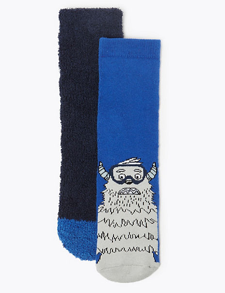 2 Pairs of Yeti Print Socks