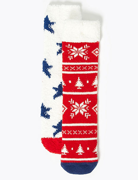 2 Pairs Fair Isle Cosy Slipper Socks