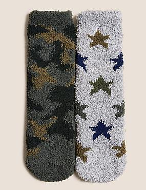 Lot de 2paires de chaussettes d'intérieur à motif camouflage