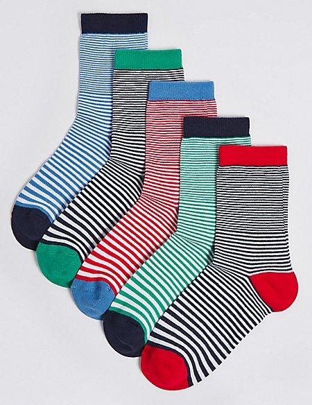 5 Pairs of Stripe Socks (1-14 Years)