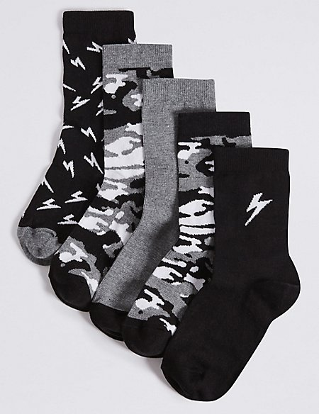 5 Pairs of Cotton Rich Freshfeet™ Ankle Socks (1-14 Years)