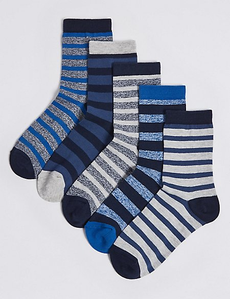 5 Pairs of Cotton Rich Stripe Socks (1-14 Years)