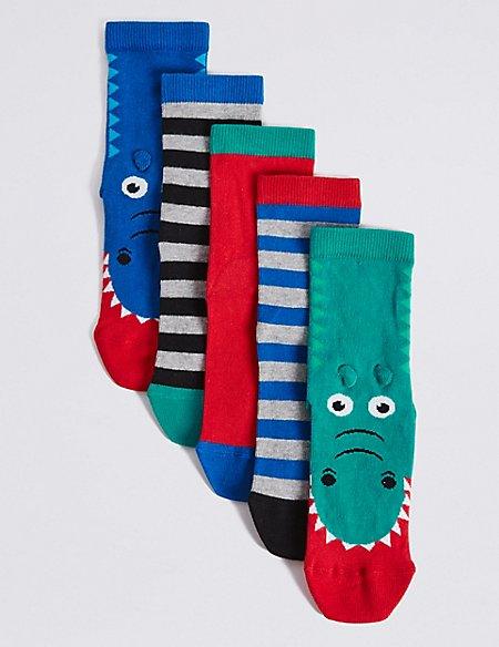 5 Pairs of Freshfeet™ Novelty Socks (1-14 Years)