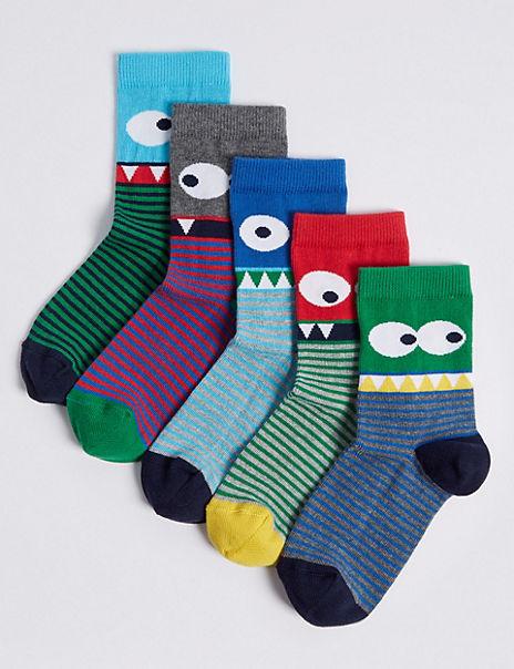 5 Pairs of Novelty Eyes Socks