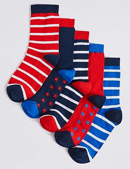 5 Pairs of Freshfeet™ Nautical Socks (1-14 Years)