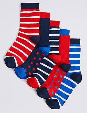 5 Pairs of Freshfeet™ Nautical Socks (1-14 Years)