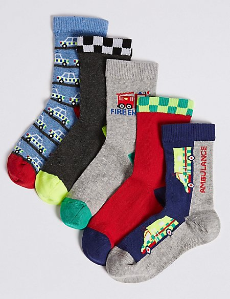 5 Pairs of Transport Ankle Socks (1-6 Years)