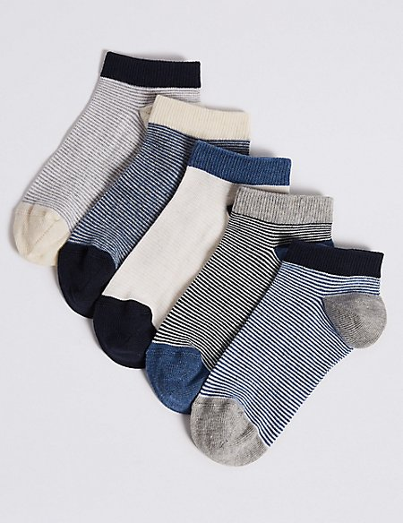 5 Pairs of Stripe Trainer Liners (3-16 Years)