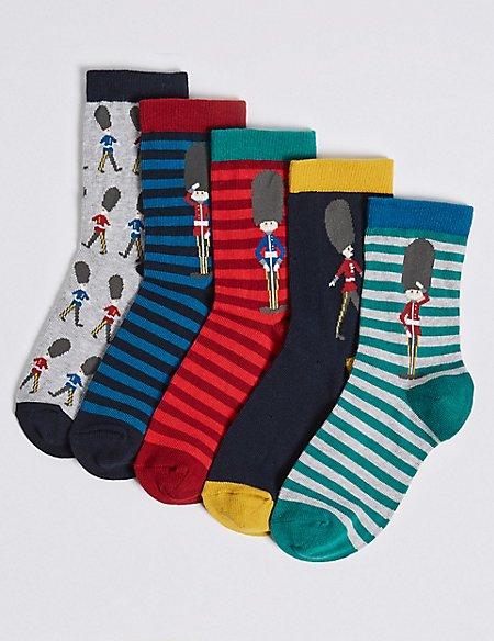 5 Pairs of Soldier Socks (1-14 Years)