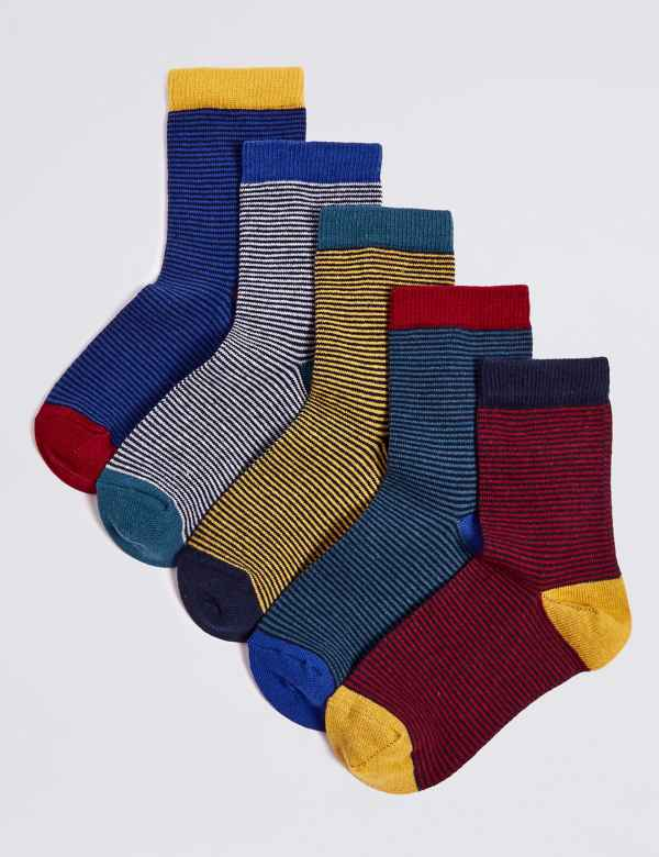 afc5398ee 5 Pairs of Feeder Striped Socks