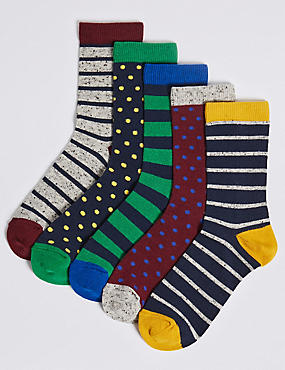 5 Pairs of Striped Socks (1-14 Years)