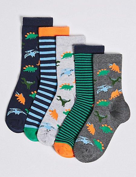 5 Pairs of Dinosaur Socks