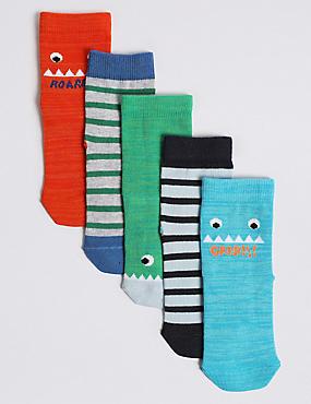 5 Pairs of Monstor Socks (1-6 Years)