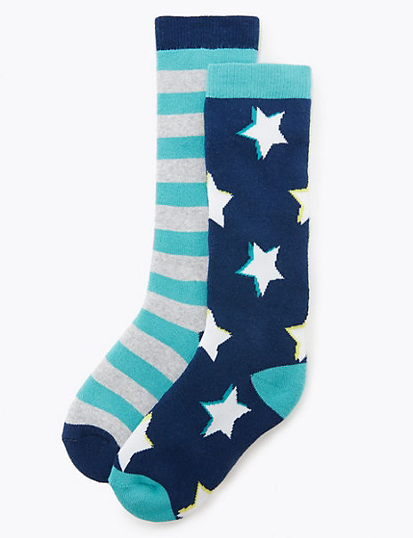 2 Pairs of Freshfeet™ Star Print Welly Socks