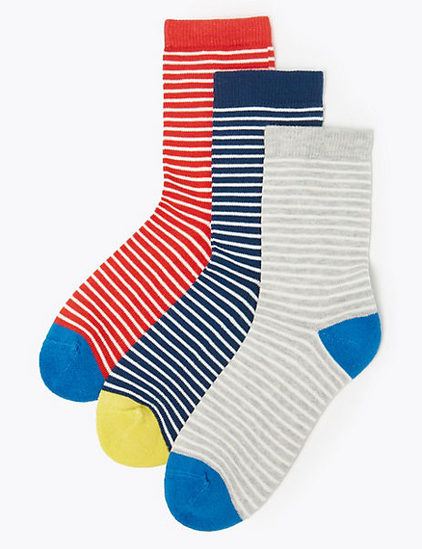 3 Pairs of Ultimate Comfort Striped Socks