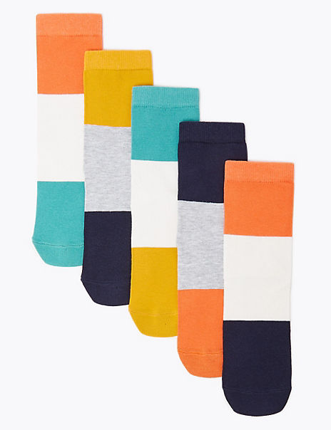5 Pack of Cotton Rich Colour Block Socks