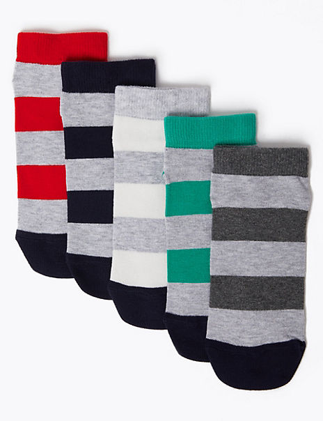 5 Pack Cotton with Lycra® Trainer Liner Socks
