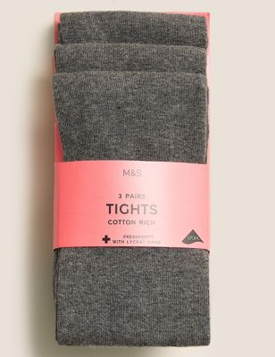 All Sizes Charcoal Grey Tights 2 Pair Pack Super Cotton Soft Great For School