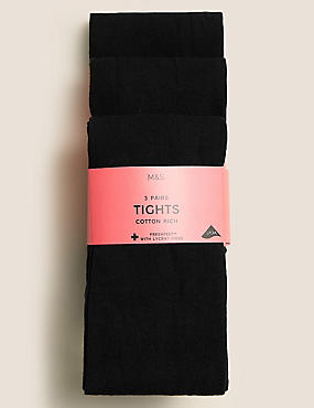3 Pairs of School Tights(4-14 Years)