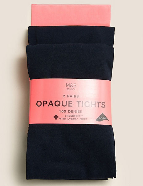 2 Pairs of Navy Tights (6-14 Years)
