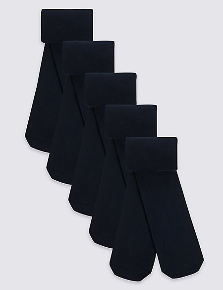 5 Pairs of Cotton Rich School Tights (2-14 Years)