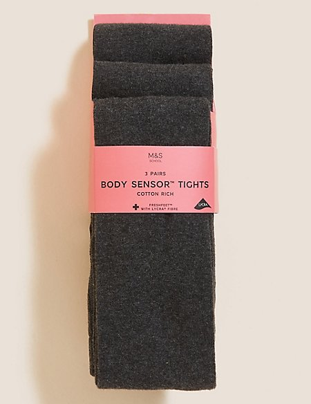3 Pairs of Body Sensor™ School Tights (4-14 Years)