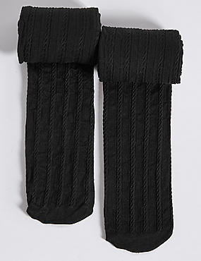 2 Pairs of Cable Opaque Tights (6-14 Years)
