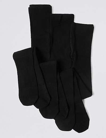 3 Pairs of Cotton Rich School Tights (2-14 Years)