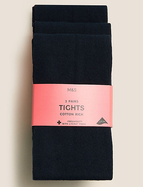 3 Pairs of School Tights (2-14 Years)