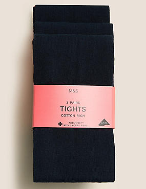 3 Pairs of School Tights (5-14 Years)