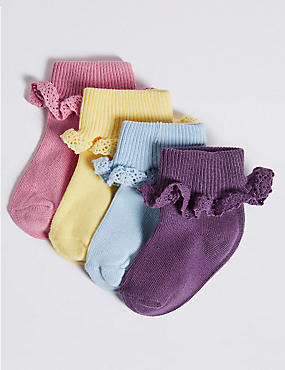 4 Pairs of Cotton Rich Frilly Baby Socks (0-24 Months)