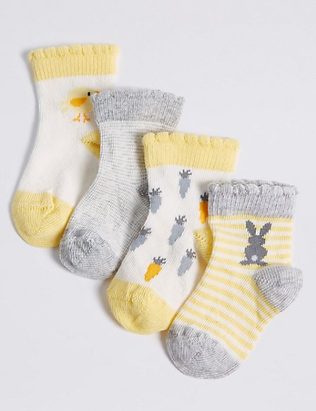 4 Pairs of Cotton Rich Baby Socks (0-24 Months)