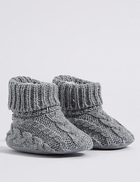 Cable Knit Slipper Booties (0-24 Months)