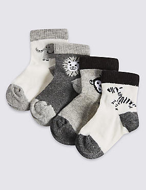 4 Pairs of Animal Baby Socks (0-24 Months)