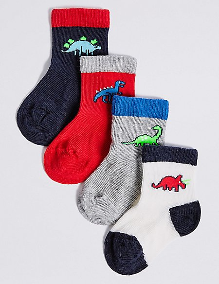 4 Pairs of Dinosaur Ankle Baby Socks (0-24 Months)