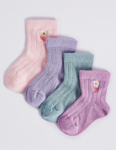 4 Pairs of Socks with StaySoft™ (0-24 Months)
